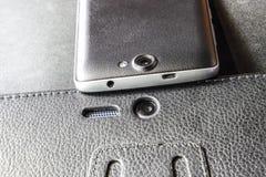 手机数字照相机 智能手机摄象机镜头特写镜头 免版税图库摄影