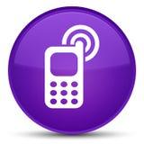 手机敲响的象特别紫色圆的按钮 免版税库存图片