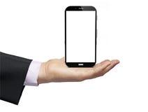 手机无线通讯技术qith blak屏幕 库存照片