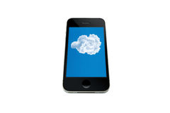 手机显示云彩 免版税库存照片