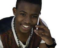 手机的非洲男孩 免版税库存图片