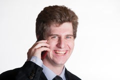手机的年轻商人 图库摄影
