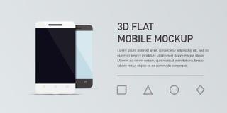 手机的Minimalistic平的例证 大模型普通智能手机 免版税库存照片