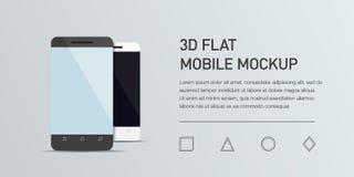 手机的Minimalistic平的例证 大模型普通智能手机 免版税图库摄影