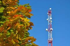 手机通信收音机电视塔、帆柱、细胞微波天线和发射机反对蓝天和树 免版税图库摄影