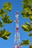 手机通信收音机电视塔、帆柱、细胞微波天线和发射机反对蓝天和树 库存照片