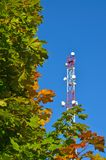 手机通信收音机电视塔、帆柱、细胞微波天线和发射机反对蓝天和树 免版税库存图片