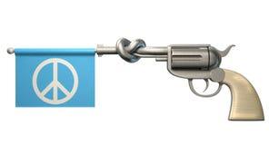 手枪和平旗子 库存图片