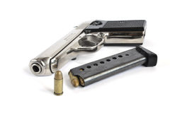 手枪和弹药 图库摄影