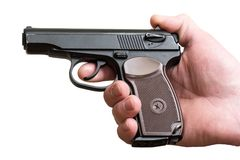 手枪在一个人的手上被隔绝 免版税图库摄影