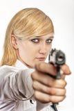 手枪妇女 免版税图库摄影