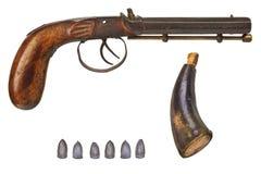 手枪用子弹和火药 免版税库存照片