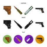 手枪皮套,弹药筒,空气炸弹,手枪 在动画片,黑色,平的样式传染媒介标志的军事和军队集合汇集象 库存例证
