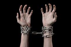 手栓了链子,绑架,依赖性,寂寞,社会问题,万圣夜题材,黑背景 免版税库存图片