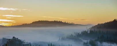 手段村庄在用密集的有薄雾的云杉的森林盖的有雾的蓝色山小山背景的房屋建设在明亮下 免版税库存图片