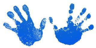 手油漆印刷品集合,被隔绝的白色背景 蓝色人的棕榈和手指 抽象派设计,标志身分 向量例证