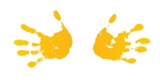 手油漆印刷品集合,被隔绝的白色背景 黄色人的棕榈,手指 抽象派设计,标志身分人 库存例证