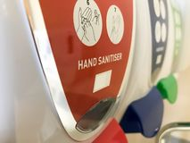 手消毒剂行在医院 免版税库存照片