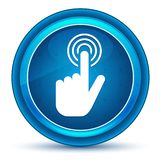 手游标点击象眼珠蓝色圆的按钮 向量例证