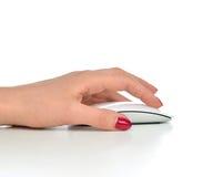 手点击现代计算机无线老鼠 免版税图库摄影