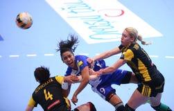 手球妇女的冠军同盟- CSM布加勒斯特对 ROSTOV-DON 免版税库存照片