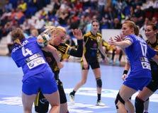 手球妇女的冠军同盟- CSM布加勒斯特对 ROSTOV-DON 图库摄影