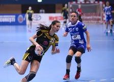 手球妇女的冠军同盟- CSM布加勒斯特对 ROSTOV-DON 库存照片