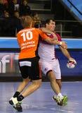 手球比赛马达扎波罗热对Kadetten沙夫豪森 免版税库存照片