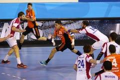 手球比赛马达扎波罗热对Kadetten沙夫豪森 库存图片