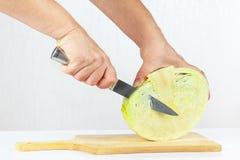 手用在切板的一棵刀子细片圆白菜 库存图片