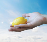 手用柠檬 免版税库存图片