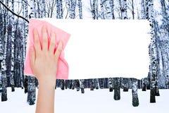 手由桃红色旧布删除冬天桦树 库存照片