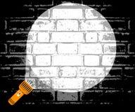 手电光柱被指挥在墙壁 搜寻在一个暗室的探员的概念 警察抓一名罪犯 向量例证