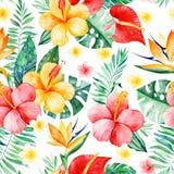 手画与多彩多姿的花的水彩无缝的样式 库存例证