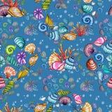 手画在蓝色背景隔绝的水彩壳无缝的样式 皇族释放例证