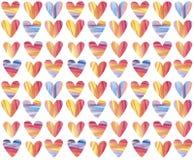 手画水彩心脏无缝的样式 新和五颜六色的背景 免版税库存照片
