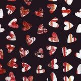手画水彩心脏无缝的样式 免版税库存照片