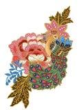 手画美丽花孔雀马来西亚鸟艺术和印度尼西亚蜡染布布裙花束构成水彩的树胶水彩画颜料 库存例证