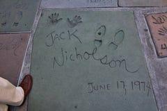 手的杰克・尼科尔森的和脚印,好莱坞 免版税库存图片