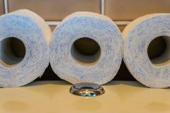 手纸卷放置在洗手间的,卫生间产品,有益健康的背景行  免版税库存照片