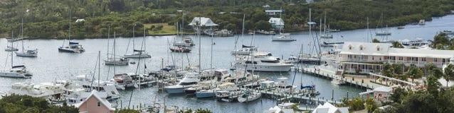 手肘岩礁,巴哈马空中全景  图库摄影