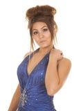 手肩膀的妇女蓝色正式头发 库存照片