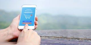 手藏品机动性增加用车运送产品在网上购买与应用程序 库存图片
