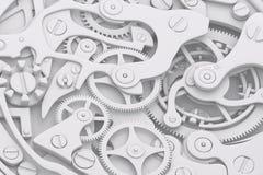 手表机制与齿轮的灰色极谱3D例证 图库摄影