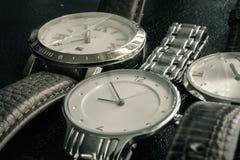 手表银色皮带分钟时间 库存照片