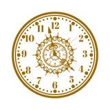 手表面孔古董时钟传染媒介例证 库存图片