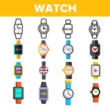 手表,小配件导航稀薄的线象集合 库存例证