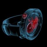 手表(3D X-射线红色和蓝色透明) 免版税库存照片
