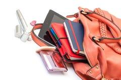 手袋夫人皮革个人计算机粉红色片剂 库存照片