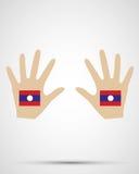 手设计老挝旗子 库存照片